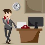 Kreskówka biznesmen na telefonie ilustracja wektor