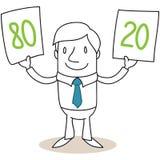 Kreskówka biznesmen Pareto 80 20 Zdjęcia Stock