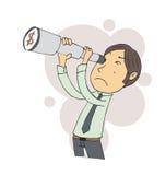 Kreskówka biznesmen używa spyglass Ręka rysunku styl Obrazy Royalty Free