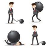 Kreskówka biznesmen ustawiający niepowodzenie ilustracji