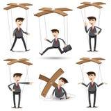 Kreskówka biznesmen ustawiający w marionetka stylu Zdjęcia Stock