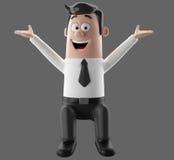 Kreskówka biznesmena 3D biurowy mężczyzna w kostiumu i krawacie Zdjęcie Royalty Free