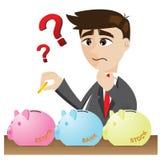 Kreskówka biznesmena inwestycja z prosiątko bankiem Obrazy Stock