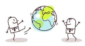 Kreskówka biznesmeni Kopie ziemię ilustracji