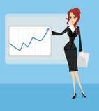 Kreskówka biznesowa kobieta wskazuje powstający biznesowi trendy Zdjęcia Stock