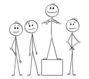 Kreskówka biznesu lider i drużyna ilustracja wektor