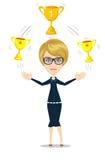 Kreskówka bizneswomanu mienia trofeum ilustracja wektor