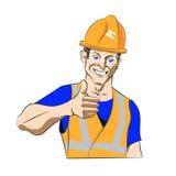 Kreskówka budowniczy pokazuje aprobaty Obrazy Stock