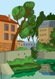 Kreskówka budynki blisko jeziora Obrazy Royalty Free
