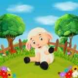 Kreskówka cakli szczęśliwy uśmiech w gospodarstwie rolnym Zdjęcia Royalty Free