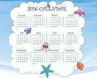 Kreskówka Calendar-2016 Fotografia Stock