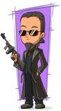 Kreskówka chłodno zabójca z pistoletem ilustracji