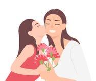 Kreskówka charakteru projekta matek dnia dziecka córki całowania szczęśliwej mamy i dawać jej goździka kwiatu jako teraźniejszość royalty ilustracja