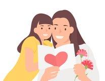 Kreskówka charakteru projekta matki ludzie szczęśliwa dzień córka, mama radośnie ogląda świętowanie kartę i ilustracja wektor