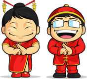 Kreskówka Chińska Chłopiec & Dziewczyna Zdjęcie Royalty Free