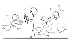 Kreskówka Chodzi Wolno i Czyta Z ludźmi Śpieszy w stresie Wokoło Ufny mężczyzna ilustracja wektor