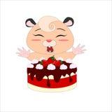 Kreskówka chomik z truskawka tortem ilustracja wektor