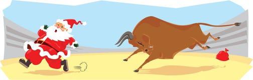 kreskówka corrida wystawiający śmieszny Santa ilustracja wektor