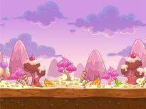 Kreskówka cukierku słodkiej ziemi bezszwowa ilustracja royalty ilustracja