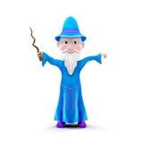 Kreskówka czarownik na Białym tle Zdjęcia Royalty Free