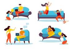 Kreskówka czasu wolnego rodziny Indoors ludzie w domu ilustracji