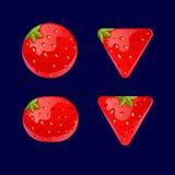 Kreskówka czerwoni guziki, Truskawkowy zestaw dla gemowego ui rozwoju Obraz Stock