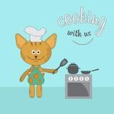 Kreskówka czerwony kota szef kuchni Zdjęcia Royalty Free
