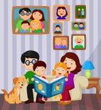 Kreskówka czyta opowieści książkę w żywym pokoju royalty ilustracja