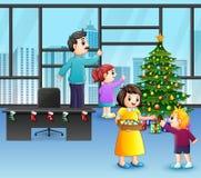Kreskówka dekoruje choinki Szczęśliwa rodzina ilustracja wektor