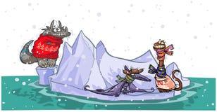 Kreskówka dinosaury na górze lodowa. Fotografia Stock
