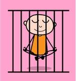 Kreskówka Dobry więzień Robi joga w więzieniu royalty ilustracja