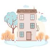 Kreskówka dom z drzewami w miękkich kolorach Obrazy Royalty Free