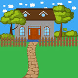 Kreskówka dom z ogrodzeniem i drzewami Zdjęcia Stock