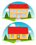 Kreskówka domy Obrazy Royalty Free