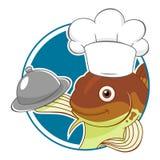 Kreskówka dorsza szef kuchni ilustracji