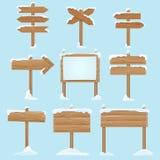 Kreskówka drewniani znaki z śniegiem Bożenarodzeniowi zima wakacji wektoru elementy ilustracja wektor