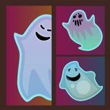 Kreskówka ducha charakteru kart potwora strasznej strasznej kostiumowej złej sylwetki widma apparition przerażający fikcyjny wekt Zdjęcie Royalty Free