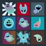 Kreskówka ducha charakteru kart potwora strasznej strasznej kostiumowej złej sylwetki widma apparition przerażający fikcyjny wekt Obraz Stock