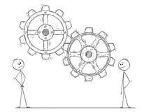 Kreskówka Dwa mężczyzna Ogląda biznesmena lub Pracujące przekładnie lub Cog koła royalty ilustracja