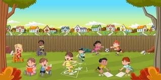 Kreskówka dzieciaków bawić się Zdjęcia Stock