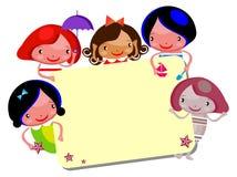 kreskówka dzieciaki śliczni ramowi Zdjęcie Royalty Free