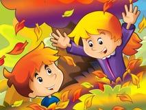 Kreskówka dzieciaki bawić się w parku - jesień Obrazy Royalty Free