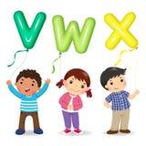Kreskówka dzieciaki trzyma listów VWX kształtujących balony Zdjęcia Stock