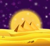 Kreskówka Egipscy ostrosłupy w pustyni z fiołkowym nocnym niebem ilustracja wektor