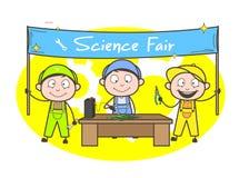 Kreskówka elektryka ucznie Robi eksperymentom w nauka jarmarku ilustracji
