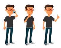 Kreskówka facet w różnorodnych pozach Zdjęcie Stock