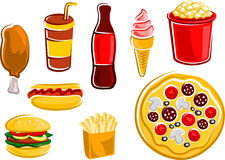 Kreskówka fast food pije i przekąsza Zdjęcie Stock