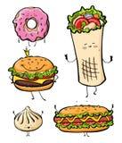 Kreskówka fasta food niezdrowy hamburger, hamburger, kebab, hotdog, pączek, khinkali, restauracyjna menu przekąski ilustracja royalty ilustracja