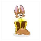 Kreskówka fenek Fox i skarb klatka piersiowa Odizolowywająca Fotografia Stock