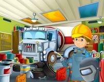 Kreskówka garaż z mechanika pracownikiem w niektóre dodatkowym zbawczej pokrywy repearing pojazdzie - spawacz z maski i spawu nar Fotografia Royalty Free